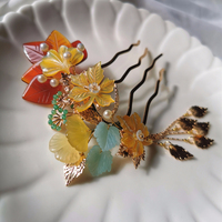 Colored Flowers Hair Pins Natural Stone Hair Accessories For Bride Pure Handmade Maple Leaf Jewelry For Girls Wedding Headpiece