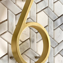 125mm Golden Floating Modern House Number Satin Brass Door Home Address Numbers for House