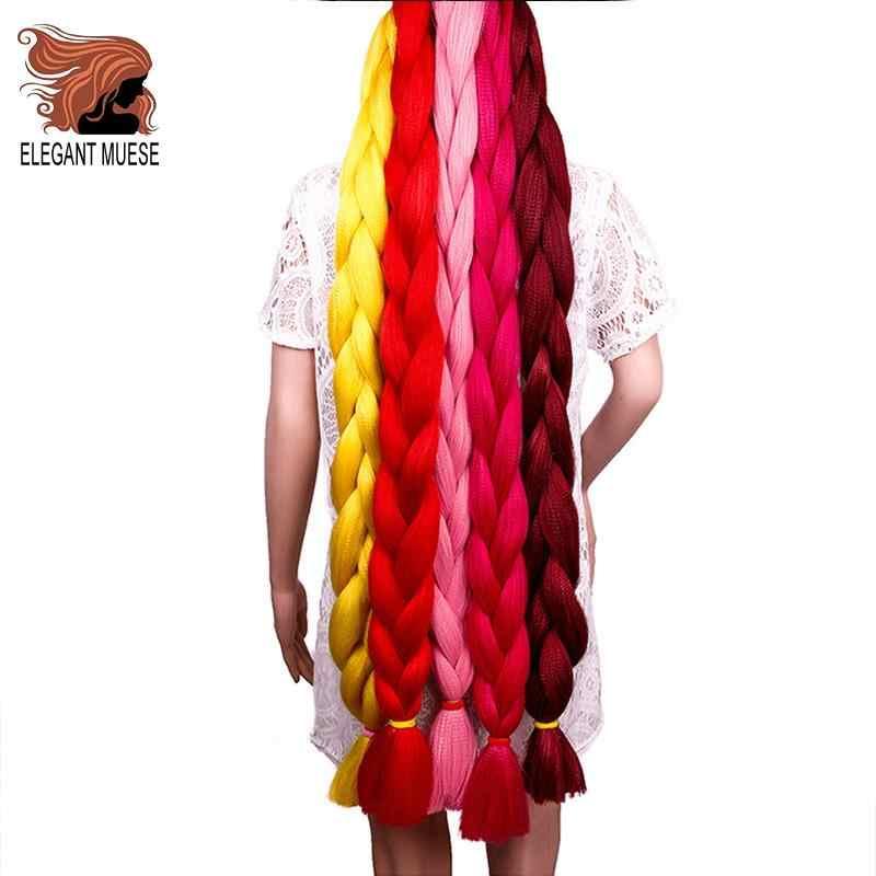 Elegant MUSES 165 гр., волосы в косичках Длинные накладные волосы на крючке, затененные, волосы оптом 82 дюйма синтетические косички, волосы для удлинения черные Для женщин