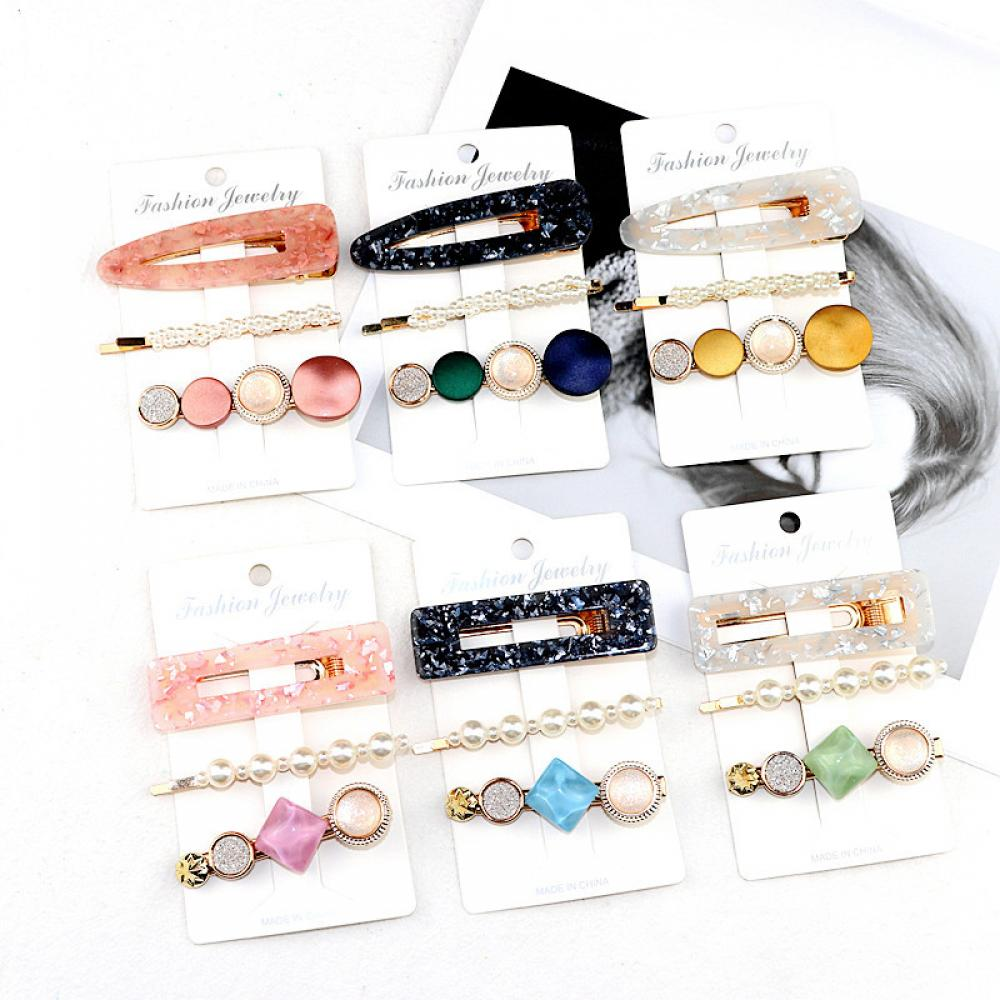 3PCS Fashion Pearls Acetate Geometric Hair Clips Women Girls Headband Sweet Hairpins Barrettes Hair Popular Style Women Jewelry