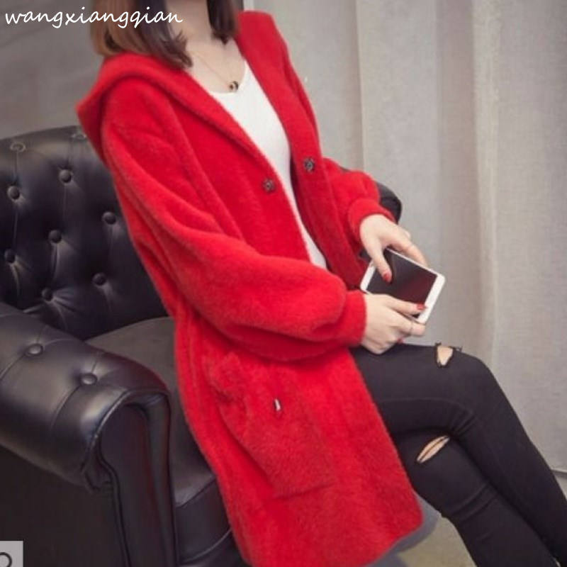 Autumn Winter 2019 New Imitation Water Velvet Coat Women's Hooded Loose Long Paragraph Mink Sweater Coat Thickening A503