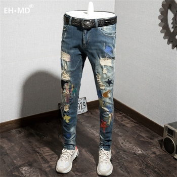 EH · MD® Ripped Printed Letter Jeans Men's Embroidery Splashing Ink Soft Casual Loose Cotton Elastic Trousers Scratched Red Ears
