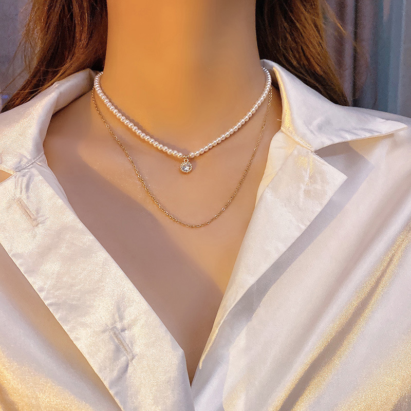 Elegant Retro French Double Layer Pearl Necklace