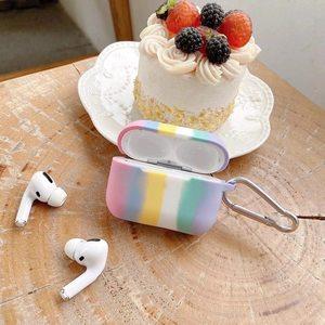 Image 4 - Colorido arco íris caso para airpods caso para airpods pro moda flor cordão chaveiro silicone fone de ouvido capa para airpods 2