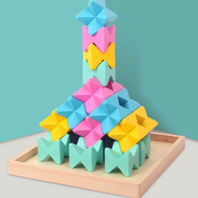 Wooden Stacking Toys Game Building Blocks for Kids Learning Toys 3D Wooden Assembled Toys Tile Balance Blocks Game 3d wooden building blocks assembled toys tile game hom diy wooden tree set for kids children preschool learning educational