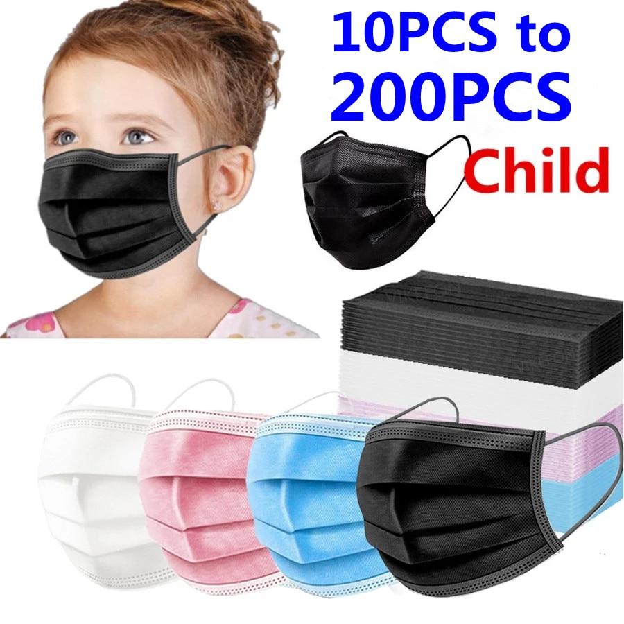 В наличии! 10-200 шт. маски одноразовая маска для лица 3 Слои детская маска фильтр пыль маска для лица для маленьких детей ушной защитная маска