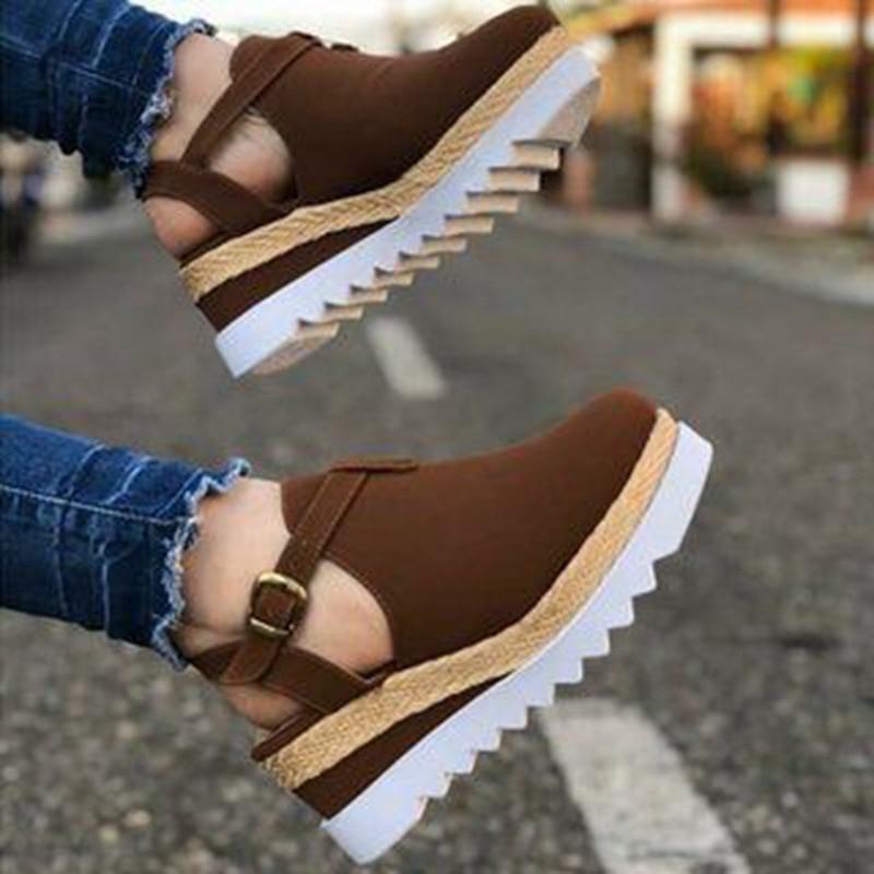 Women Platform Sandals Straw Thick Bottom Ladies Sandals Beach Shoes Flat Belt Buckle Summer Fashion Slingbacks Newest Hot 2020