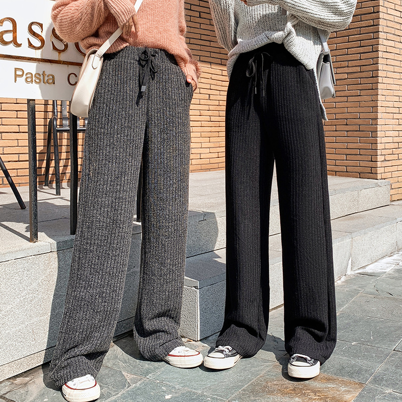Autumn Winter Casual Straight Pants Woman Korean Female Loose High Waist Knitted Wide Leg Black Pants Casual Grey Trousers Women