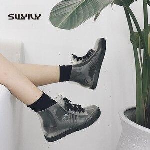 Image 2 - SWYIVY Women Rainboot 2019 New Fashion PVC Rain Boots Women Ankle Boots Transparent Shoes Woman Non slip Waterproof Sneakers