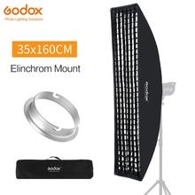 "Godox 35x160cm 14 ""x 63"" רצועת כוורת כוורת רשת Softbox עם Elinchrom הר עבור Profoto סטודיו פלאש"