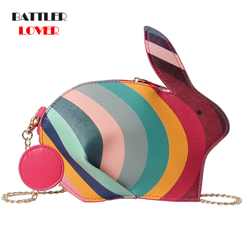Colorful Rabbit Shaped Women Leather Handbags Females Casual Crossbody Bags Girls Ladies Messenger Bag Purse Shoulder Bags 2019