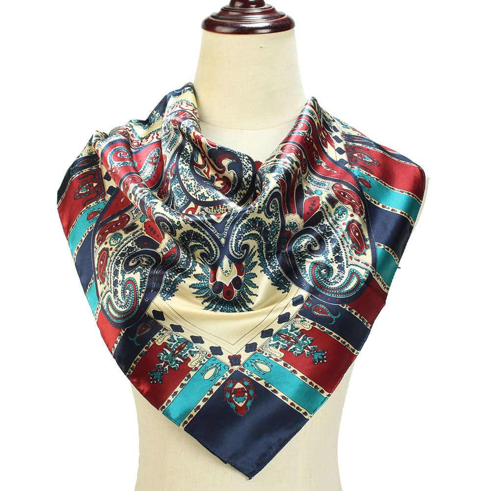 2019 Raso di Seta Di modo Sciarpa del Hijab Per Le Donne Scialle Quadrato Sacchetto Fazzoletto Capelli Sciarpe Fazzoletto 90*90cm del Collo sciarpe e Scialli