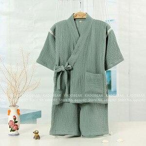 Image 5 - Çocuk japon Kimono pijama seti bebek erkek kız yaz pijama çocuklar Kimono pamuk ev pijama takım elbise iç çamaşırı giyim