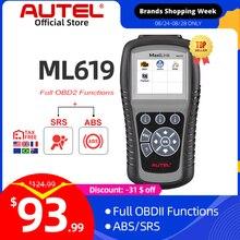 Autel MaxiLink ML619 ABS/SRS + יכול OBDII כלי אבחון מנקה את הקודים ומאפס צגים