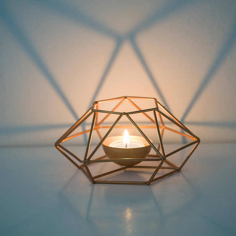 Classic Geometric Iron Candlestick Wall Candle Holder Ornament Sconce Matching Tealight Steel Minimalist Wedding Home Decor Gift