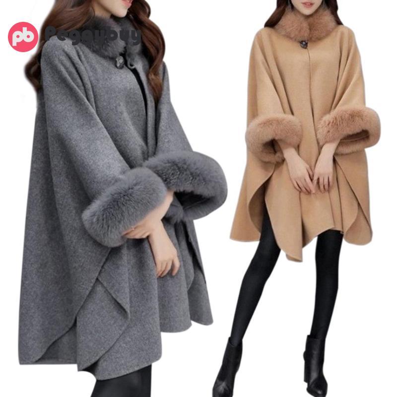 Elegant Winter Plus Size Pure Color Loose Cape Faux Fur Collar Overcoat Women Woolen Cloak Fashion Clothes Ponchos