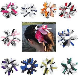 Image 1 - free shipping 10pcs soccer ribbon hair scrunchies ponytail holder Gymnastics Hair Tie  Dance Pony   pony hair ties sport bows
