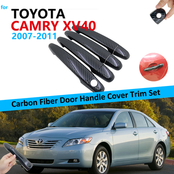 Carbon Fiber Door Handle Cover Trim Set for Toyota Camry Daihatsu Altis XV40 2007~2011 Car Accessories Stickers 2010 2009 2008 image