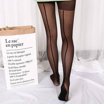 1 pair 2 Colors Stylish Retro Sexy Jacquard Backside Line English Love Letter Tattoo Tights Tigh Women Lady Stockings Pantyhose
