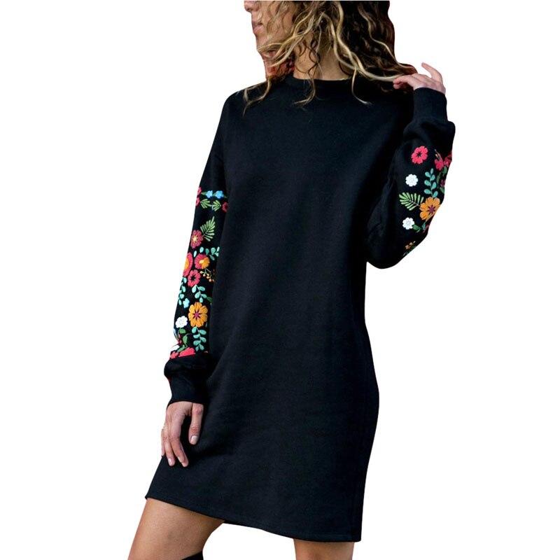 JODIMITTY 2020 Платье женское зимнее мини платье классическое с цветочным принтом с длинным рукавом и круглым вырезом свободное теплое платье черное уличная одежда Vestido Платья      АлиЭкспресс