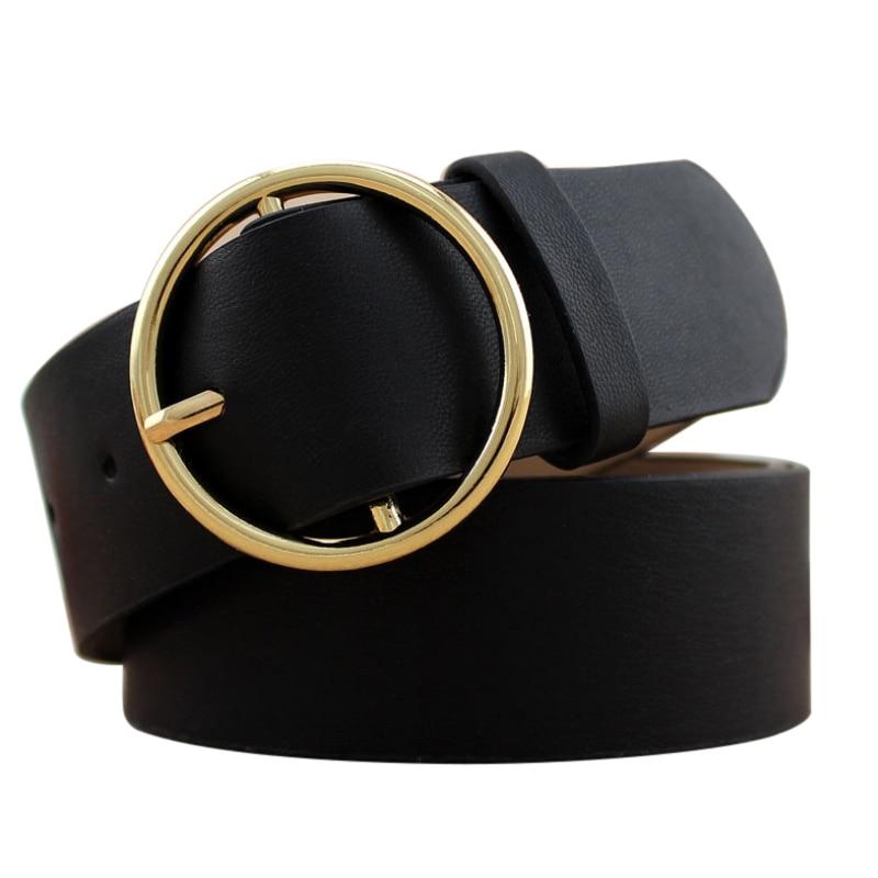 Meihuida Women Korean Vintage Durable Classical Metal Boho PU Leather Round Buckle Solid Waist Belts Waistband