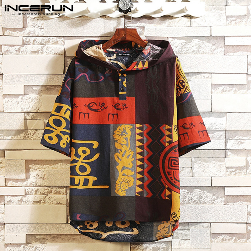 INCERUN Ethnic Style Printed T Shirt Men Hooded Vintage Half Sleeve Cotton Pullovers Chic Button 2021 Streetwear Mens T-shirts