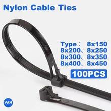 100 шт., нейлоновые кабельные стяжки 8*150/200/250/300/400/450may