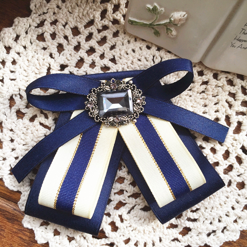 I-Remiel Original Handmade Elegant Court Style Rhinestone Bow Tie Brooch School Fabric Bows Ties Blouse Shirt Collar Accessories