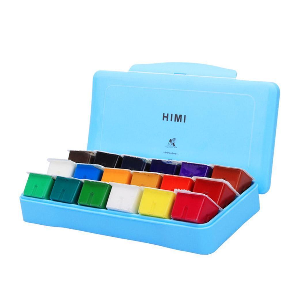 18 Colors Gouache Paint Set 30ml Portable Case With Palette Gouache Watercolor Painting For Artists Students Non-Toxic