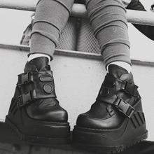 Diseño de marca de la calle genial negro de moda de estilo gótico botas tacones altos plataforma Zapatos con cuña para mujer botas de motocicleta de gran tamaño 50