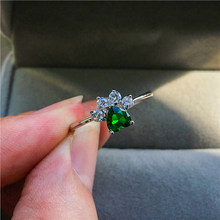 Cute Female Green Blue Purple Zircon Heart Ring Fashion Silver Dog Cat Bear Paw Claw Ring Cute Wedding Engagment Rings For Women(China)