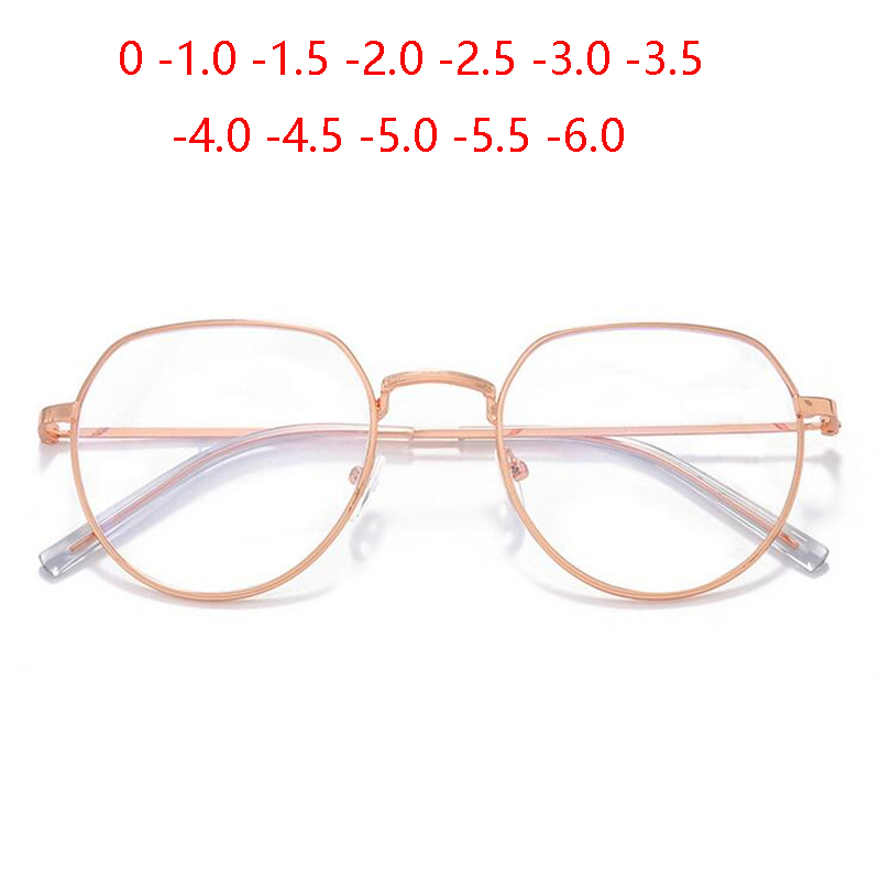 Rose Gold Irregular Frame Finished Myopic Glasses Women Retro Anti-blue Light Student Short-sighted Spectacle 0 -1.0 To -6.0