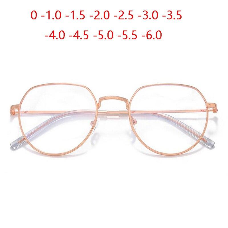 Rose Gold Irregular Frame Finished Myopic Glasses Women Retro Anti-blue Light Student Short-sighted Spectacle 0 -1.0 To -6.0