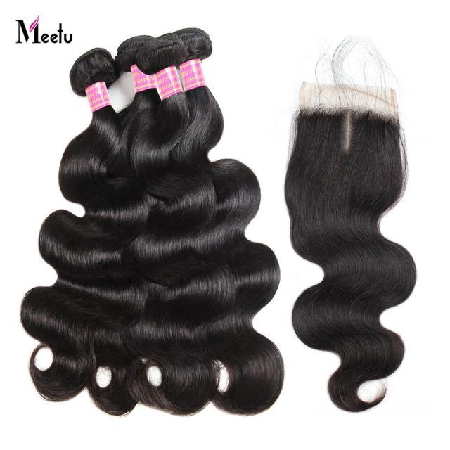 Meetu 髪 4 バンドルと閉鎖ブラジル実体波人間の毛髪のレースクロージャー送料中部非の Remy 毛