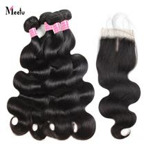 Meetu Hair 4 Bundles With Closure Brazilian Body Wave Human Hair Lace Closure With Baby Hair Free Middle Part Non Remy Hair