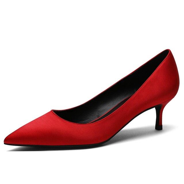 Туфли лодочки женские шелковые с острым носком на тонком высоком
