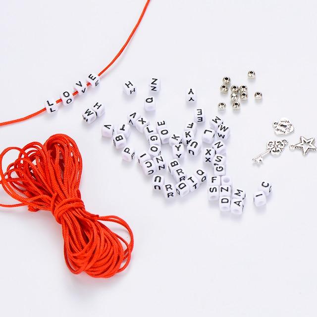 DIY Acryl Quadrat Brief Perlen Für Schmuck Machen Armband Set Herz Schlüssel Stern Handgemachte Seil Name Brief Finden Zubehör