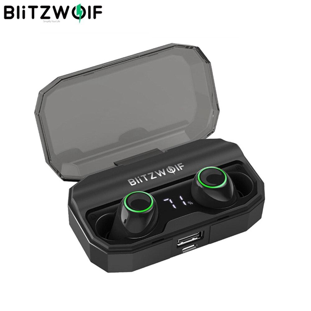 BlitzWolf FYE3S 3 TWS Verdadeiro Toque Sem Fio Bluetooth 5.0 Fone De Ouvido Exibição de Energia Digital Inteligente Bilateral Chamada Fones de Ouvido Caixa de Carga