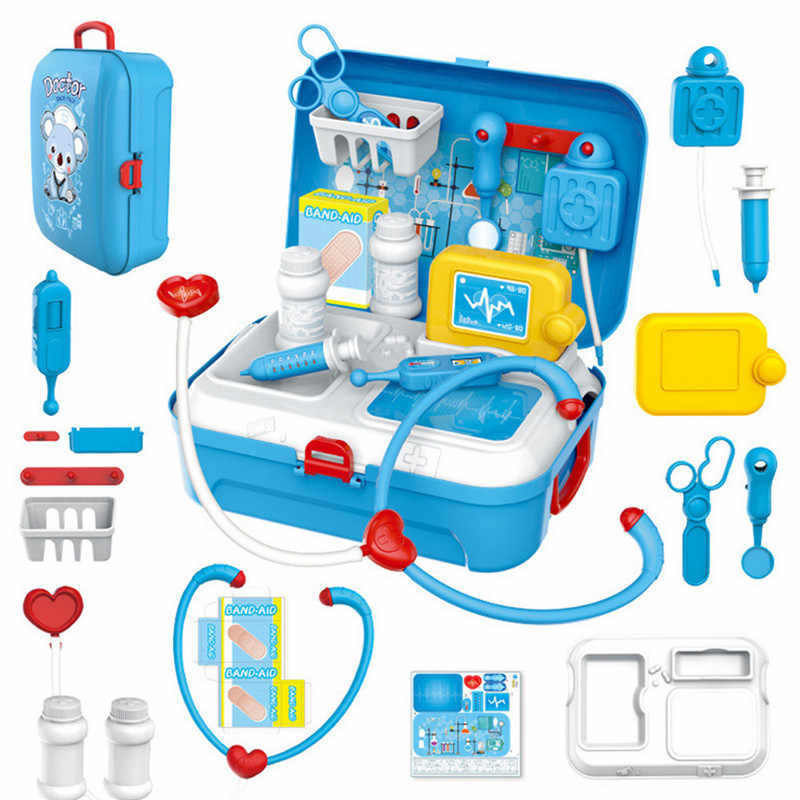 17PCS Children Pretend Play Doctor Toy Set Portable Backpack Medical Kit Medical Kit Role Play Classic Toys for Children