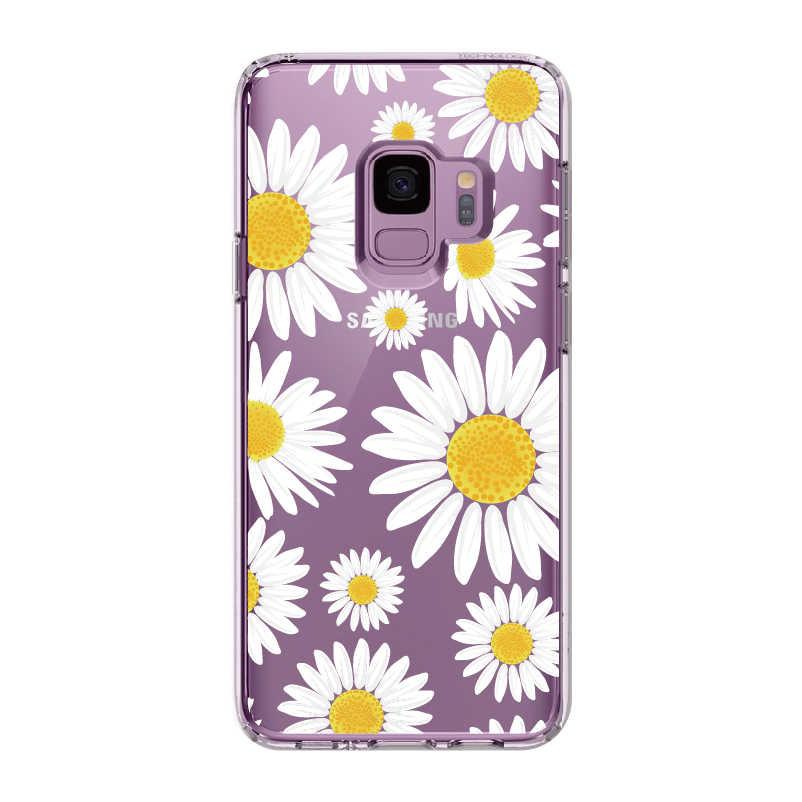عباد الشمس الزهور زهرة ديزي لسامسونج غالاكسي ملاحظة 8 9 10 A7 A8 S8 S9 S10 زائد لينة TPU الكريستال ضئيلة واقية حالة واضحة
