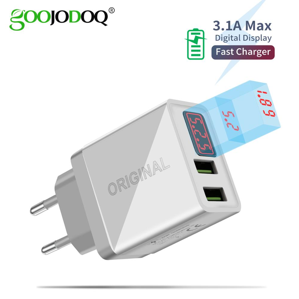 GOOJODOQ LCD Digital Display USB Charger 5V 3.1A Max Fast Charger for Samsung Xiaomi Huawei Charging for iPhone Charger Adapter
