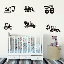 Set of 6 Construction Vehicles Wall Decal Sticker Boys Room Wall Creative Decoration Removable Vinyl Art Stickers Kids Room PW08 3pcs set 3d removable room decoration wall stickers