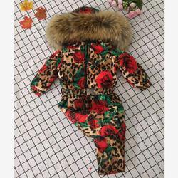 Real fur Hooded Winter Jacket Infant Jumpsuit Snow Suit Girl Leopard Print Rose Down Jacket Modis Kids Snow Wear Outerwear Y1950