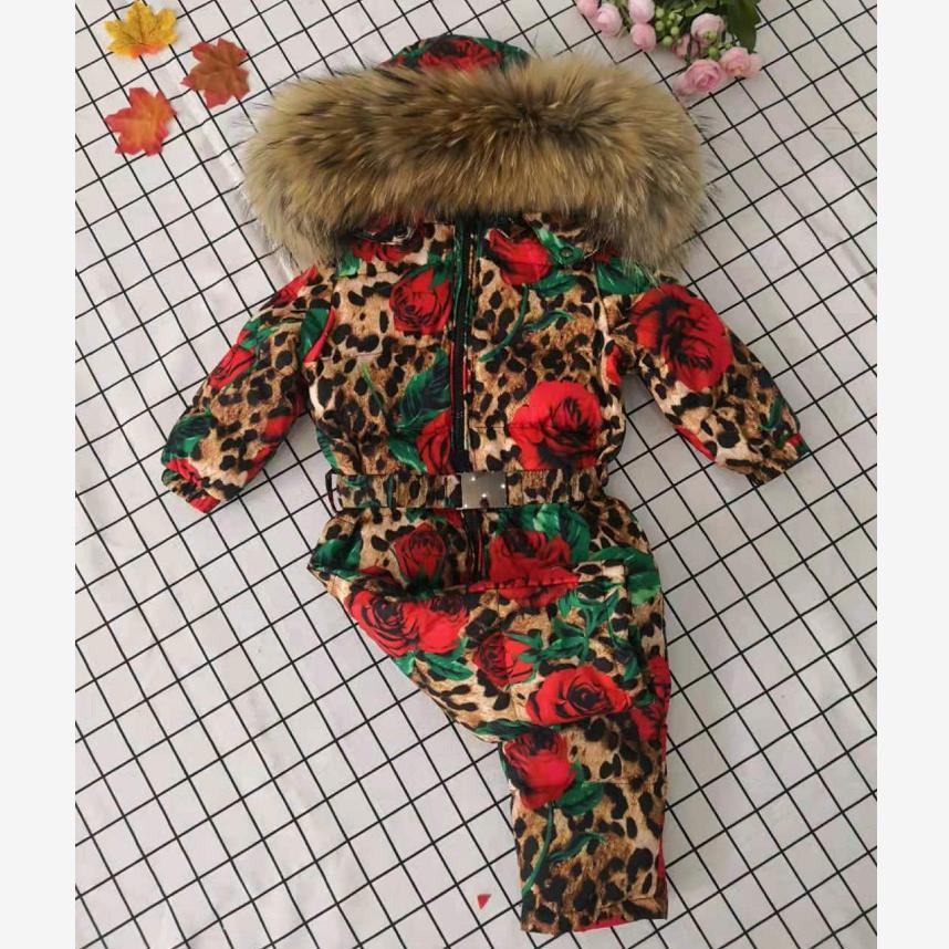 Veste d'hiver à capuche en fourrure véritable combinaison pour bébé combinaison de neige fille imprimé léopard Rose doudoune Modis enfants vêtements de neige vêtements d'extérieur Y1950