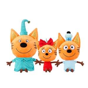 Genuine criança e gatos Russa Три кота Minha Família Três Gatos Felizes Boneca Dos Doces do Bolinho Pudim Gato Feliz Boneca de Pelúcia Brinquedo Presente Das Crianças