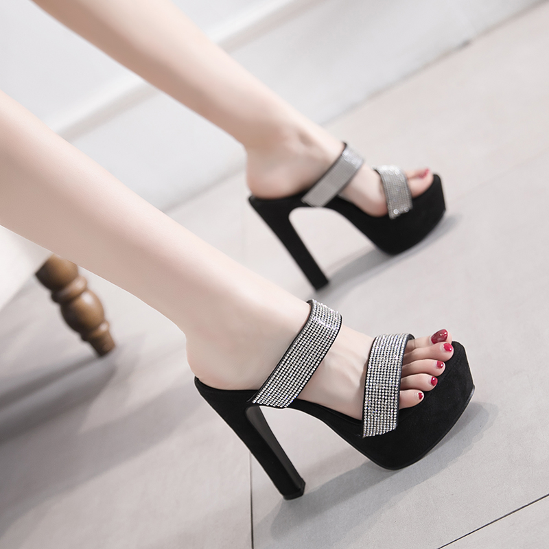 High-heeled thick heel sandals fashion 2019 summer new rhinestone super high sexy female
