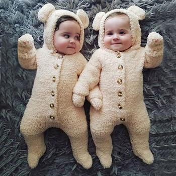 2020 jesień kombinezon zimowy dla niemowlaka dziewczynek bawełniane kombinezony z kapturem dla chłopców pajacyki kombinezon dla niemowląt dzieci noworodka ubrania dla dzieci tanie i dobre opinie COTTON Poliester CN (pochodzenie) Unisex W wieku 0-6m 7-12m 13-24m Stałe Pojedyncze piersi Pełna Winter Baby Romper Pasuje prawda na wymiar weź swój normalny rozmiar