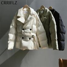 CRRIFLZ Womens Winter Jackets Short Warm Adjustable Waist Jacket Double Breasted Parka Down