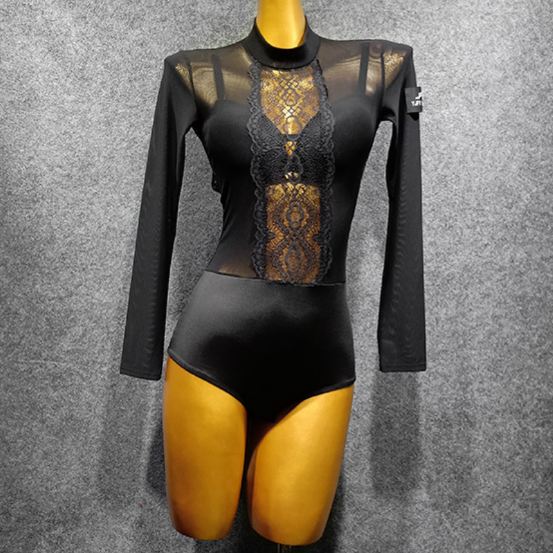 Black Latin Dance Dress Female Jumpsuit Sexy Latin Dance Costume Long Sleeve Open Back Bodysuit