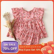 Комплект одежды из 2 предметов для маленьких девочек; Летние топы с рукавами-крылышками + шаровары; Винтажная одежда с цветочным рисунком дл...